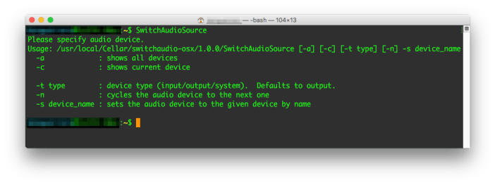 SwitchAudioSource Command Line