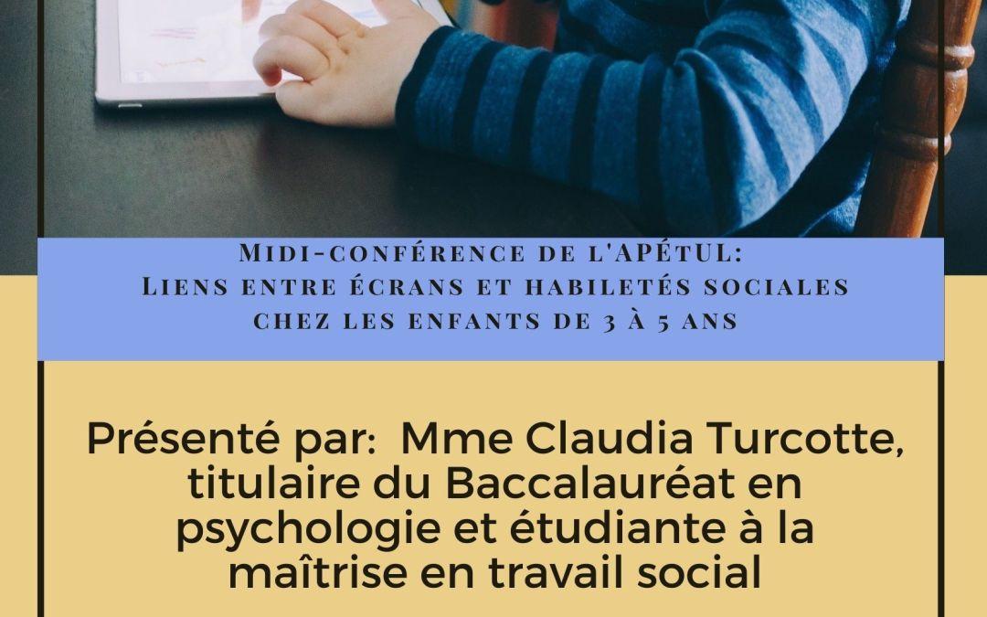 Midi-conférence: Liens entre les écrans et les habiletés sociales chez les enfants de 3 à 5 ans
