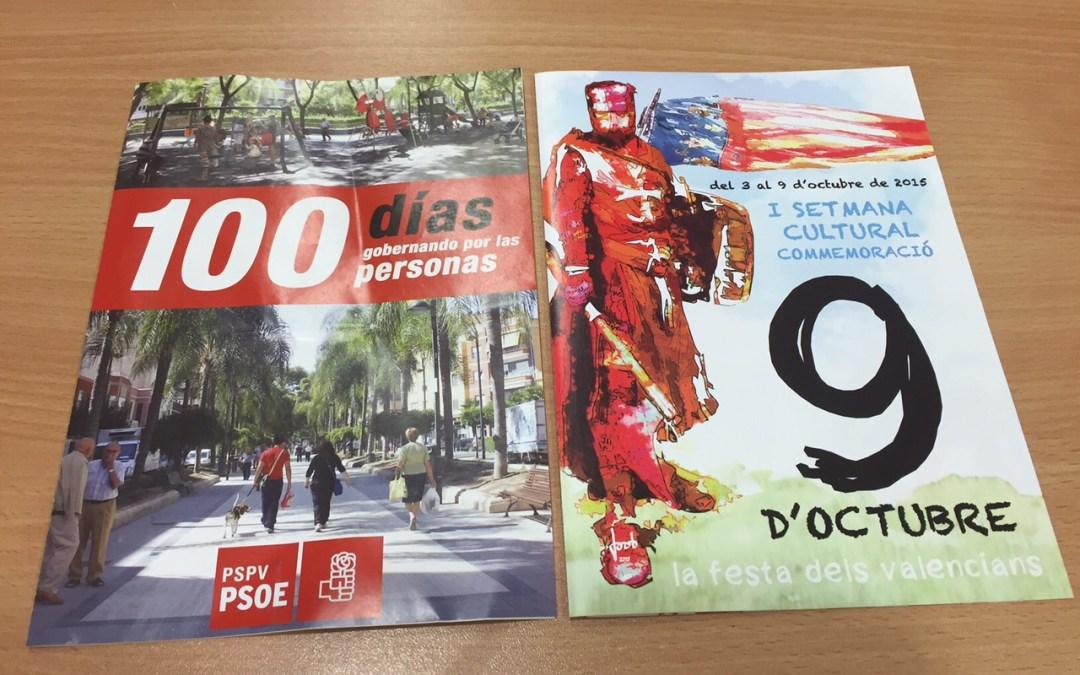 El PP de Torrent pregunta a Ros acerca de quién paga el folleto del PSOE y el del 9 de Octubre