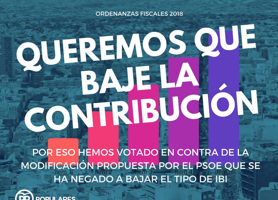Hemos votado en contra de la propuesta del PSOE y a favor de la bajada del IBI. No lo hemos conseguido