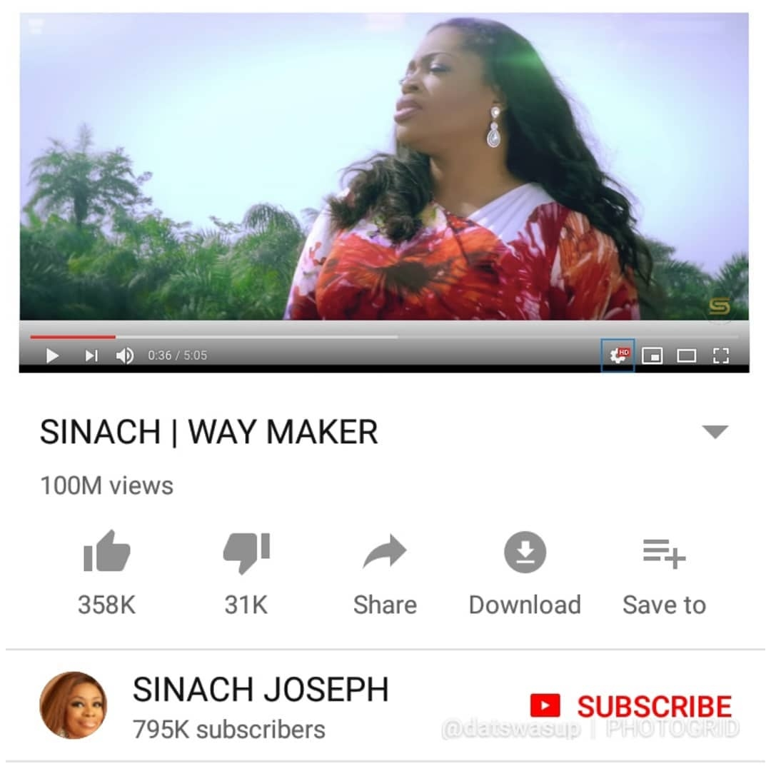 Sinach's 'Way Maker' Becomes the 3rd most viewed Nigerian