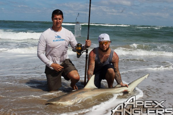 Jake Gruse and John Lusnek with John's first shark.