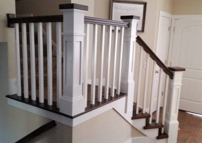 Salt Lake City Utah Custom Stair Railings And Banisters | Shaker Style Stair Railing | White | Exterior | Loft | Farmhouse Front Door | Square