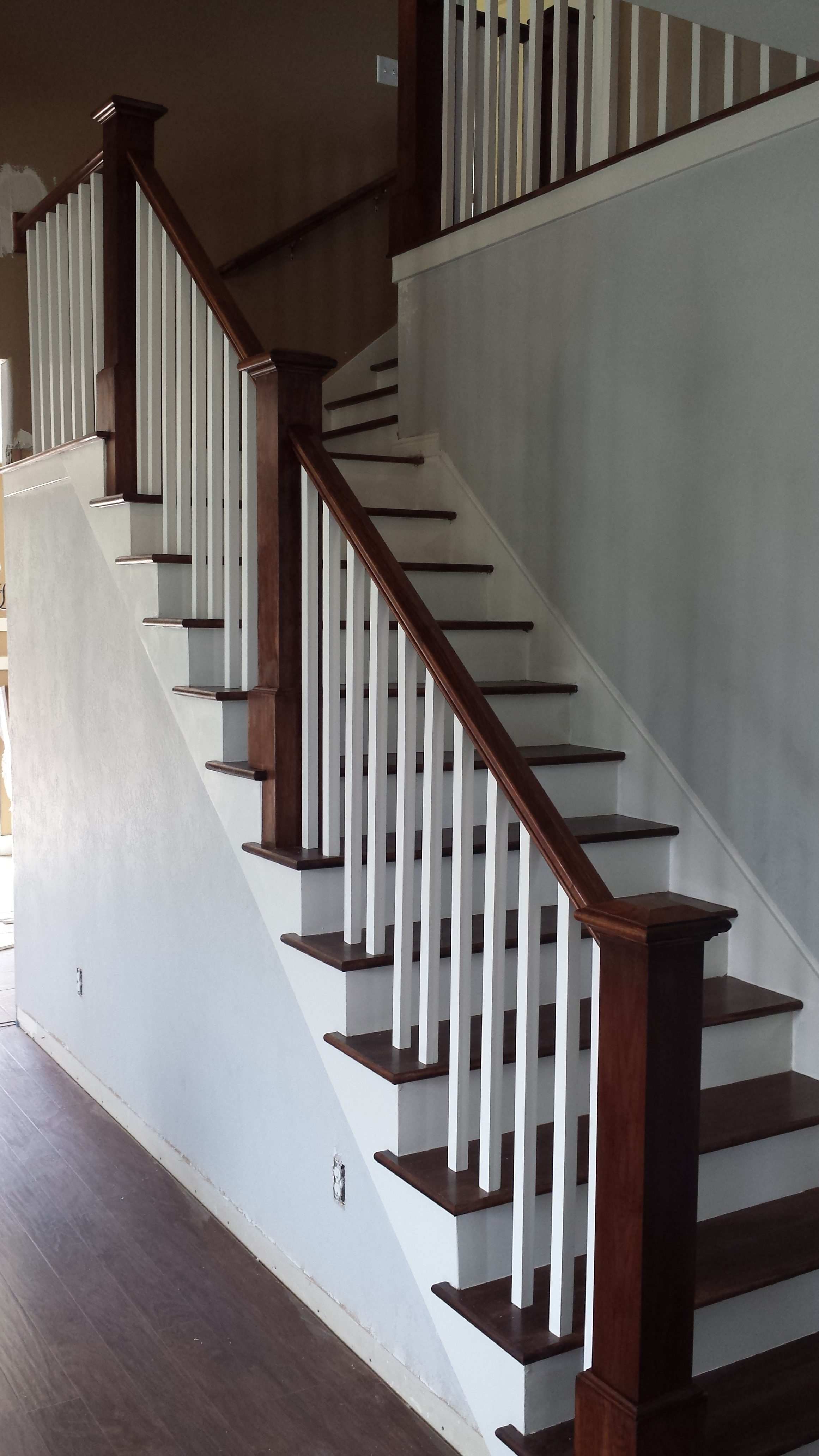 Salt Lake City Utah Custom Stair Railings And Banisters   White Wood Stair Railing   Timber White   Build Stair   Metal   Glass   Before And After