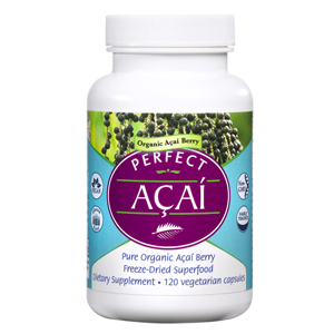 A bottle of Perfect Supplements Perfect Acai.