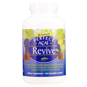 A bottle of Perfect Supplements Revive supplement.