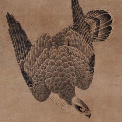 Ilustração de falcoaria no Japão