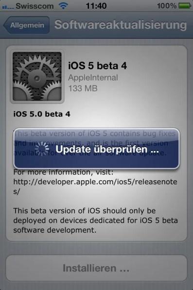 iOS 5 Softwareaktualisierung Update