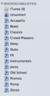 iTunes Wiedergabelisten