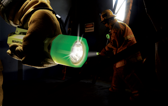 Pelican Sabrelite Photoluminescent Flashlights in use by fire fighters.