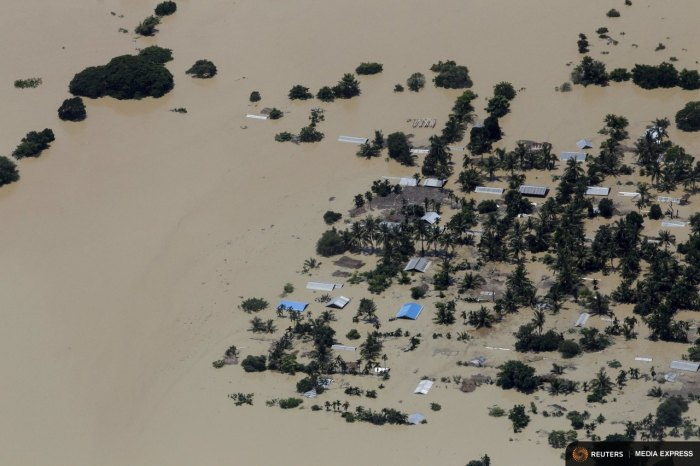 An aerial view of the flooded Kalay township at Sagaing division August 2, 2015. EUTERS/Soe Zeya Tun