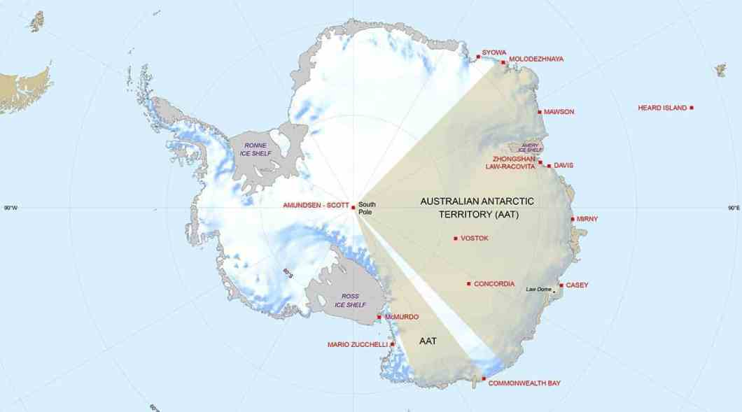 Stations and bases in East Antarctica.