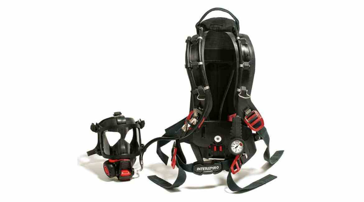 Modern firefighter's harness and face mask.