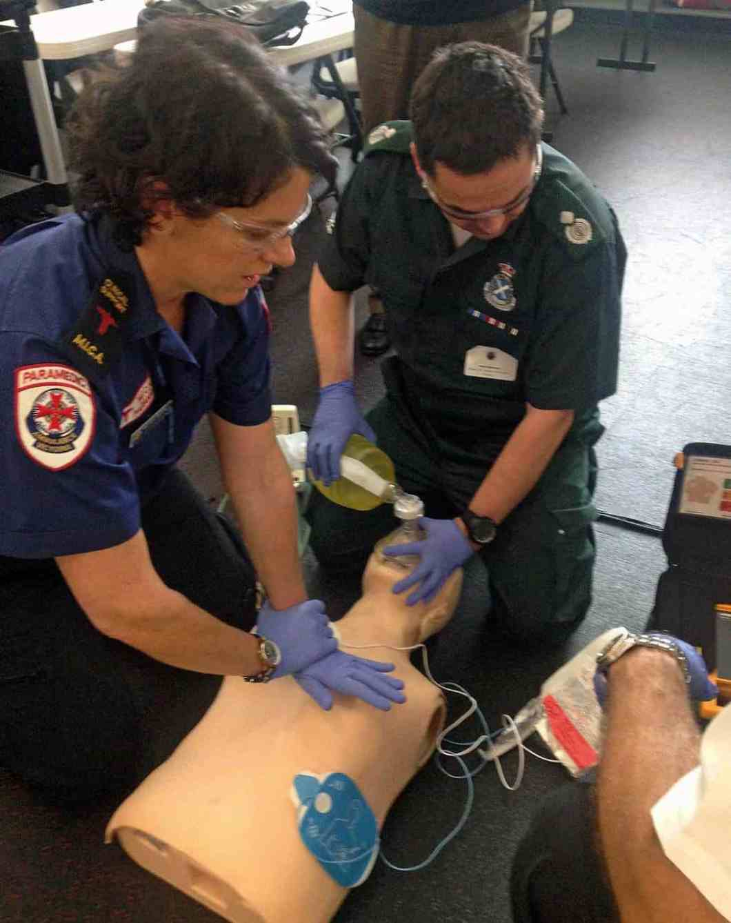 Paramedics from around the world training at the Resuscitation Academy – Seattle.