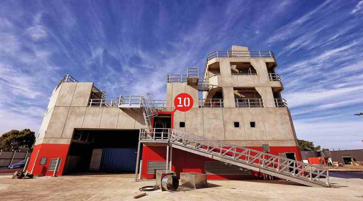 VEMTC Craigieburn's ship fire fighting prop means firefighters can train in climbing the hull to access a ship at sea, fire fighting in the cargo hold or managing operations from the captain's bridge.