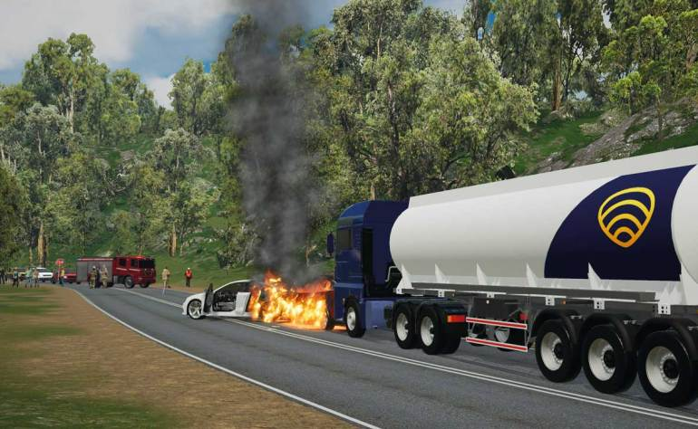 Extract from an immersive learning scenario involving three vehicles on the highway.