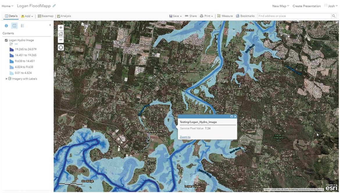 FloodMapp Nowcast integrated with ArcGIS online environment, to show predicted flood inundation and impact at specific locations and assets.