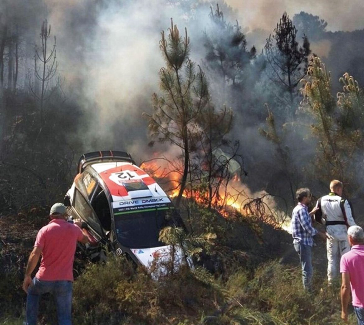 Post crash fire at a WRC event. Even without technology concerns, depending upon the type of motorsports, hazards can be significant if not addressed properly.