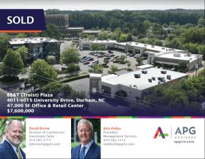 APG Advisors BB&T Sale Durham Commercial Real Estate