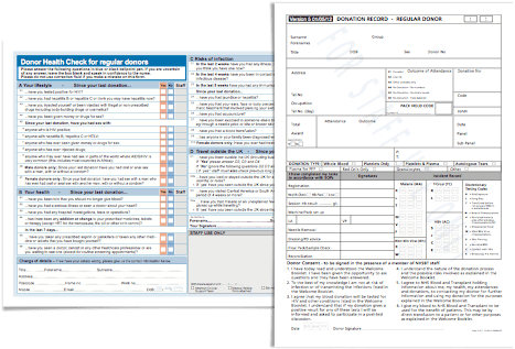 The existing paper version of the health check form