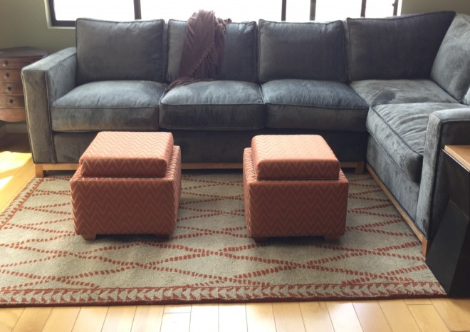 Contemporary Living Room Sectional and Ottomans