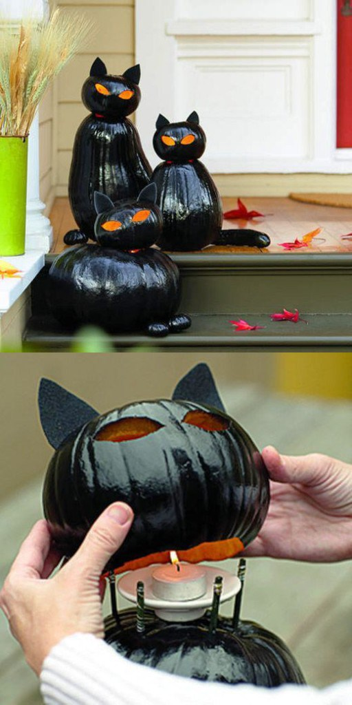 Fall Black Cat Painted Pumpkins