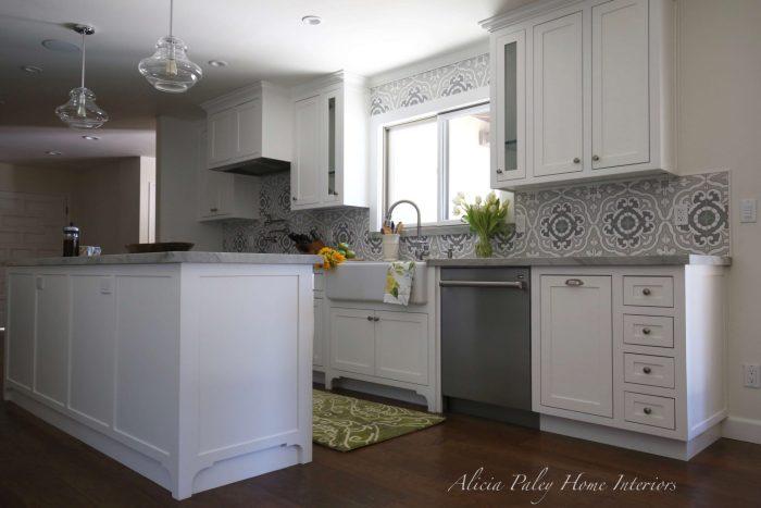 Lynn Ranch Kitchen Remodel - Environmentally Friendly Tile, USA Made Appliances, Wolf Range, Rohl Sink, Quartzite Countertop, Custom Cabinets, Kitchen Island, Shaker Style Kitchen, Pendant Lights