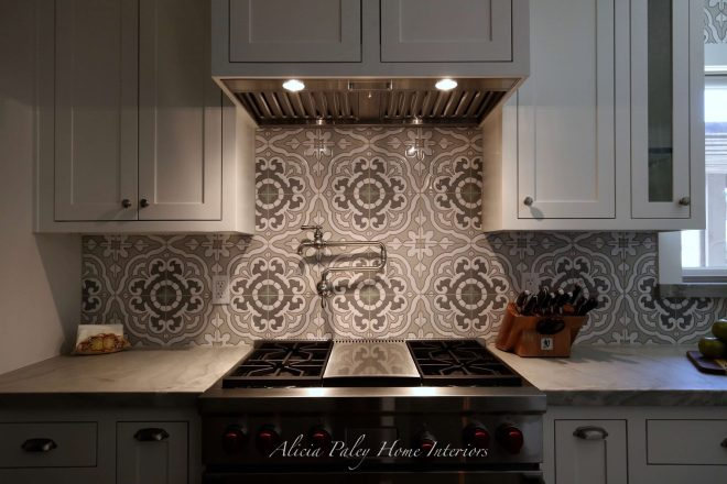 Lynn Ranch Kitchen Remodel - Environmentally Friendly Tile, USA Made Appliances, Wolf Range, Rohl Sink, Quartzite Countertop, Custom Cabinets, Kitchen Island, Shaker Style Kitchen, Pendant Lights
