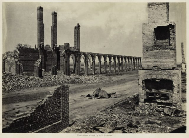 George N. Barnard, Ruins of the Railroad Depot, Charleston, South Carolina, from Photographic Views of Sherman's Campaign, 1865; albumen print; 10 1/8 x 14 1/4 in. (25.72 x 36.2 cm); Collection of the Sack Photographic Trust
