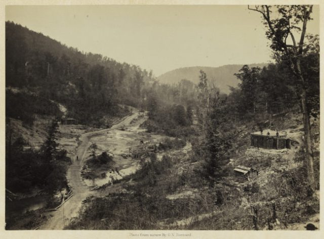 George N. Barnard, Whiteside Valley below the Bridge, from Photographic Views of Sherman's Campaign, 1864; albumen print; 10 x 13 15/16 in. (25.4 x 35.4 cm); Promised gift of Paul Sack to the Sack Photographic Trust