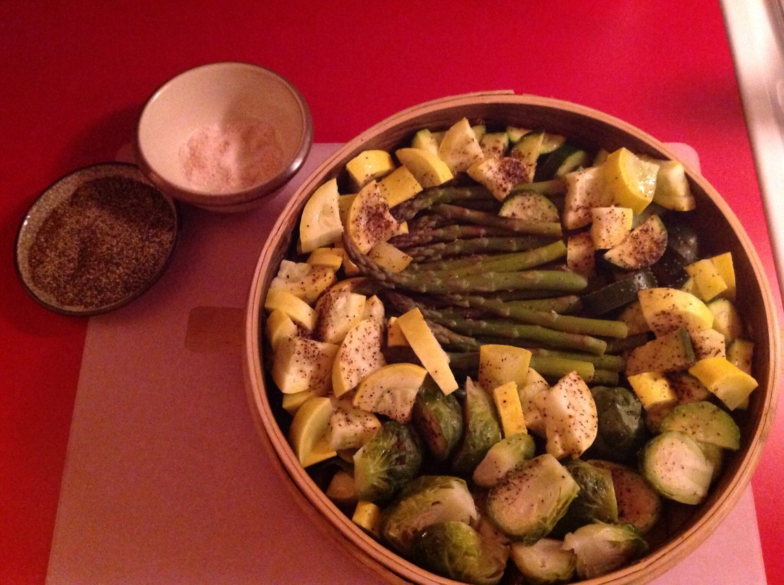 Seasoned my selection of organic veggies.