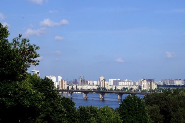 The left bank of Dnipro river