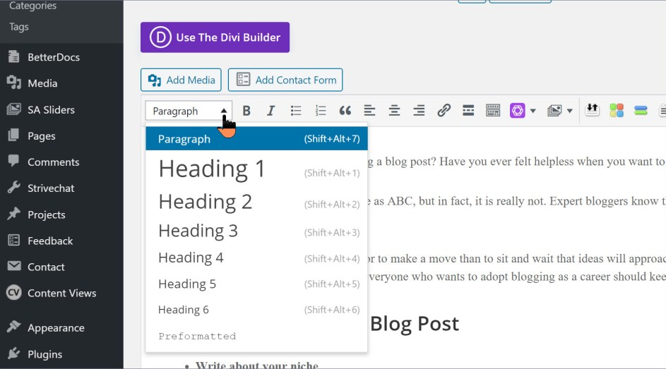 headings blog post format - format blog post in wordpress