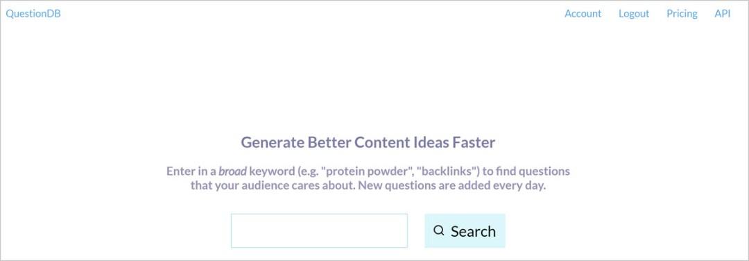 QuestionDB - free keyword research tools for seo blog posts