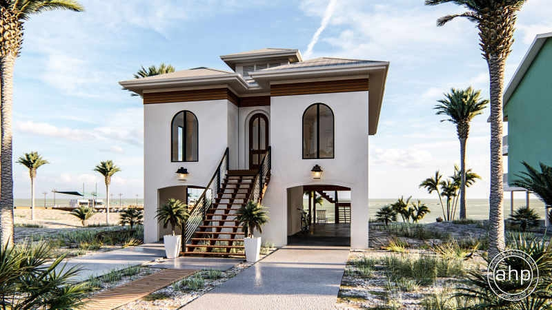Coastal Beach House Plan Marco Island   Grand Staircase House Plans   Curved Staircase   3 Car Garage   Acadian Home Interior   Single Story   1800 Square Foot