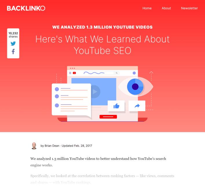 Backlinko – YouTube ranking factors