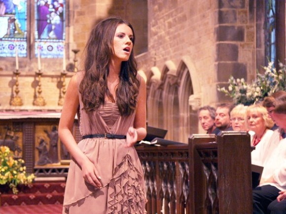 Faryl singing in Thorpe Malsor church
