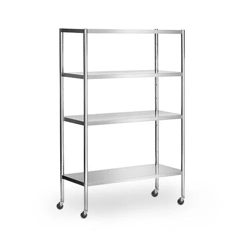 stainless steel shelf 1 4 x 0 5 m with 4 shelves adjustable incl 4 wheels