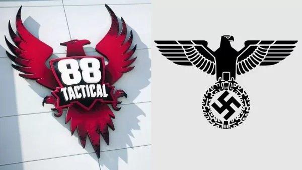 À esq., o logo do clube de tiro, com águia com a face virada para o lado direito; à dir., brasão do partido nazista alemão com águia adornada pela suástica virada para o mesmo lado