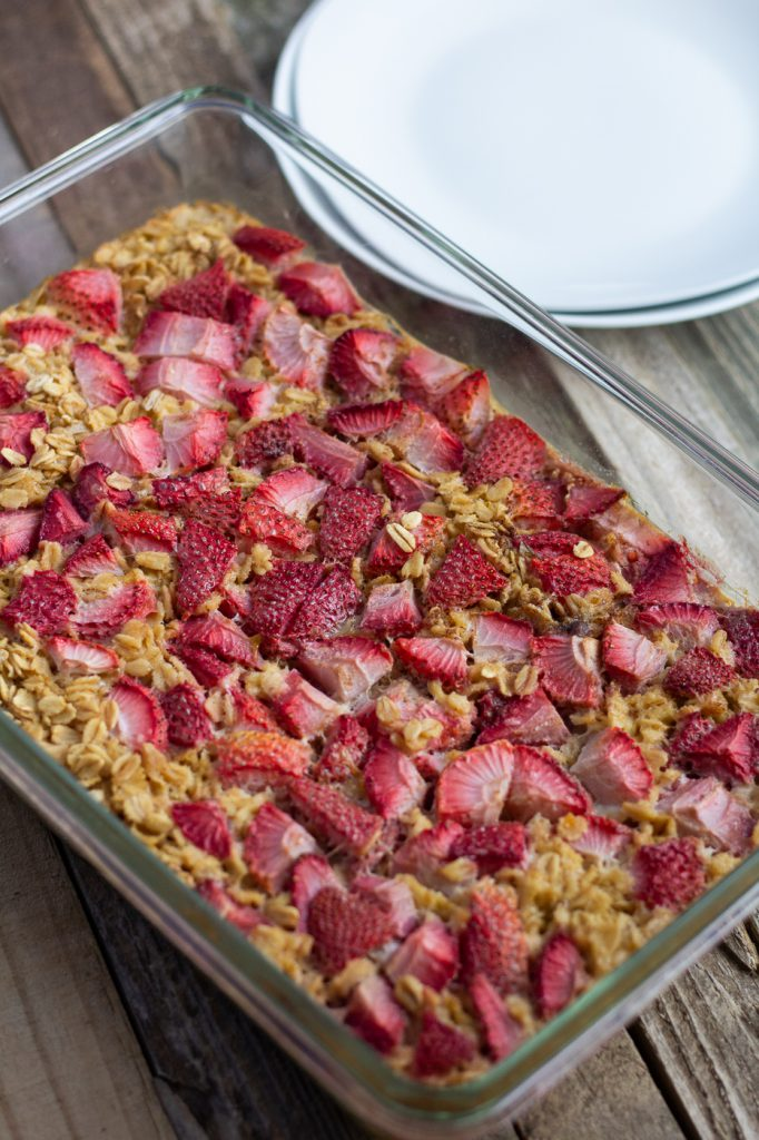 Pan of healthy strawberry baked oatmeal