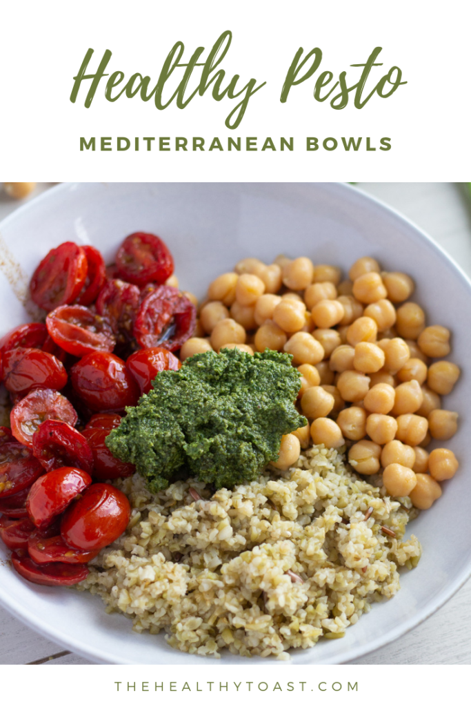 Mediterranean Pesto Bowl with roasted balsamic cherry tomatoes, homemade walnut pesto, chickpeas and freekeh pinterest image