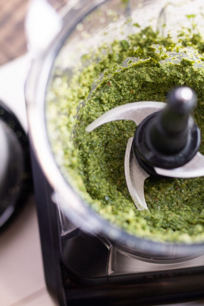 Homemade walnut pesto in the food processor