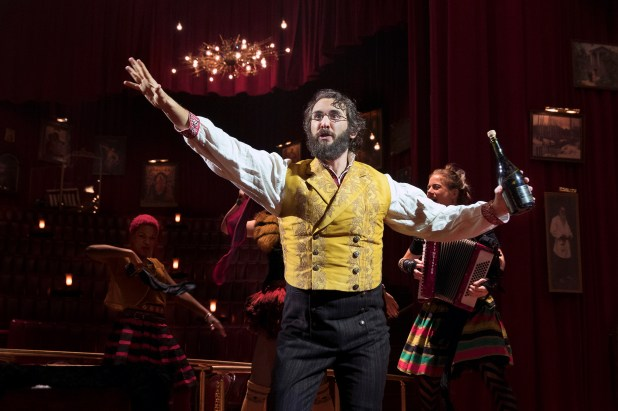 "Josh Groban in the musical ""Natasha, Pierre and The Great Comet of 1812"" at the Imperial Theater in New York, Nov. 4, 2016. Dave Malloy's pop opera, adapted from a slice of Tolstoy's ""War and Peace,"" was born four years ago in the shoe box of Ars Nova, one of the most adventurous Off Broadway companies, before moving into a specially built cabaret-style space in the meatpacking district. (Sara Krulwich/The New York Times)"