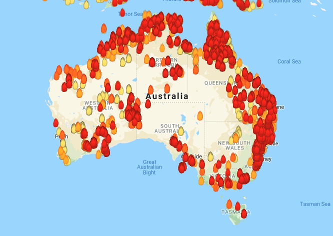 A map from researchers in Western Australia shows hundreds of bushfire hotspots across the nation as of Friday, Dec. 20, 2019.