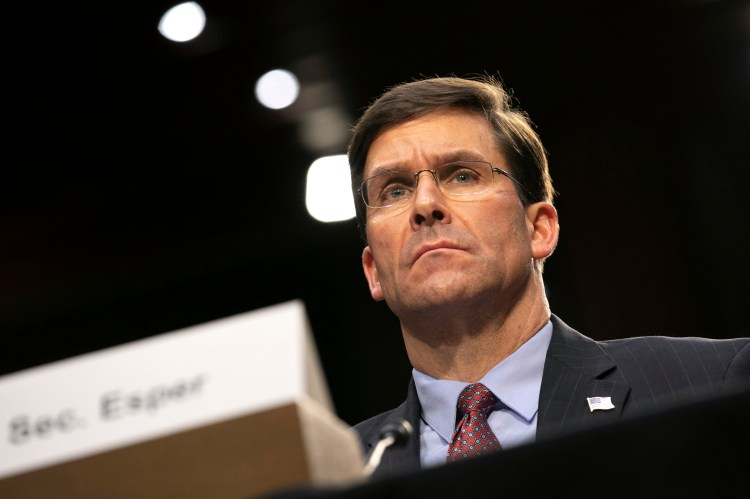 Defense Secretary Mark Esper testifies to the Senate Armed Services Committee about the budget, Wednesday, March 4, 2020, on Capitol Hill in Washington.