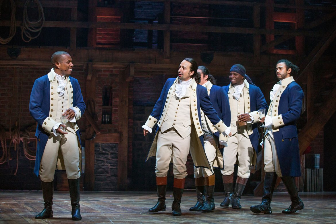 From left, Leslie Odom Jr., Lin-Manuel Miranda, Anthony Ramos, Okieriete Onaodowan and Daveed Diggs in  Hamilton  at the Richard Rodgers Theater in New York, July 11, 2015.