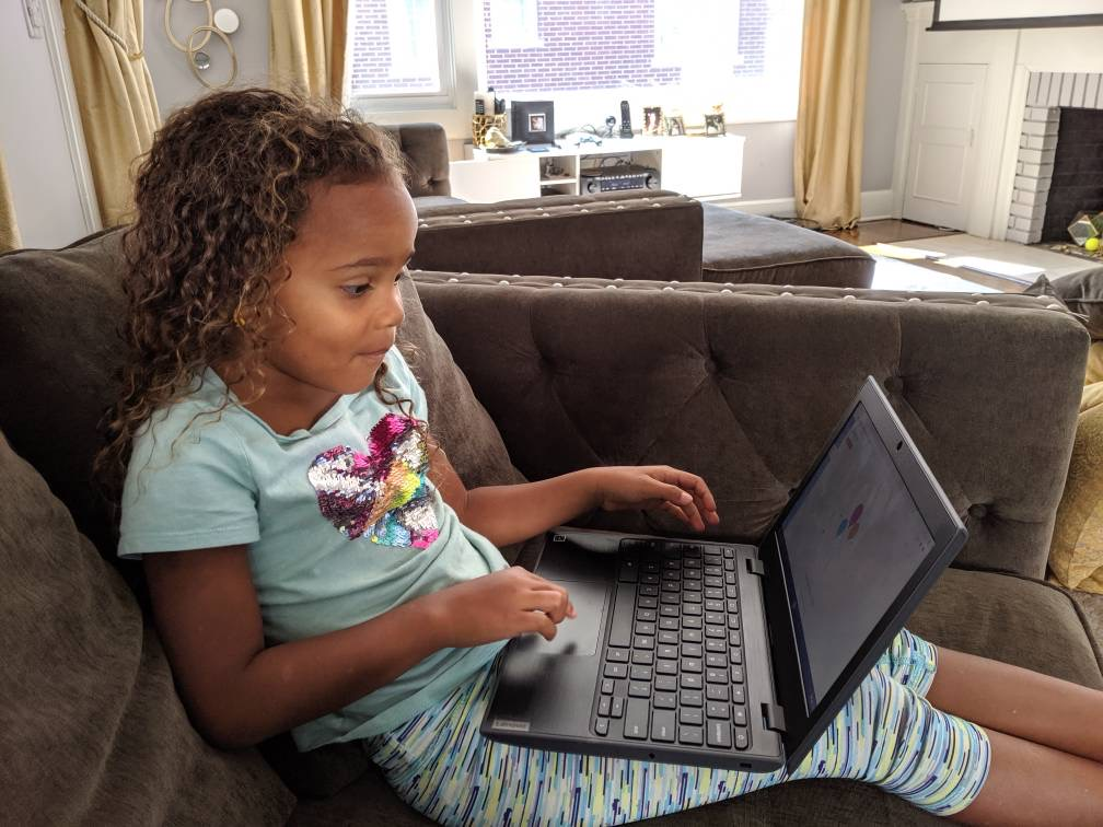 Nevaeh Allsopp, 5, participates in a virtual kindergarten lesson at her home in South Orange, N.J.
