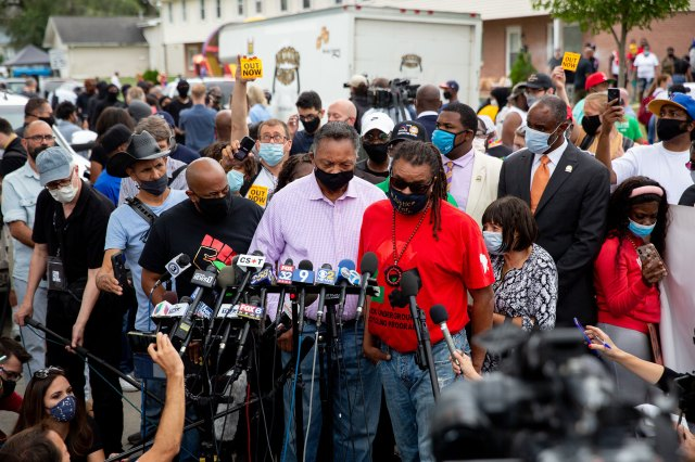 The Rev. Jesse Jackson speaks as he and Justin Blake, uncle of Jacob Blake, meet with reporters near the site where Jacob Blake was shot by police in Kenosha, Wis., on Tuesday Sept. 1, 2020.