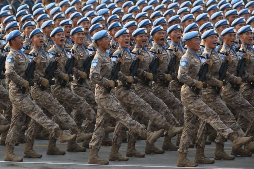 Soldiers of the People's Liberation Army march during a parade to celebrate the 70th Anniversary of the founding of the People's Republic of China in 1949, at Tiananmen Square on October 1, 2019 in Beijing, China.