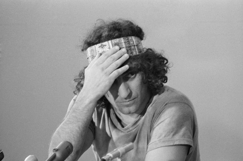 Abbie Hoffman Adjusting Headband During Chicago Seven Trial